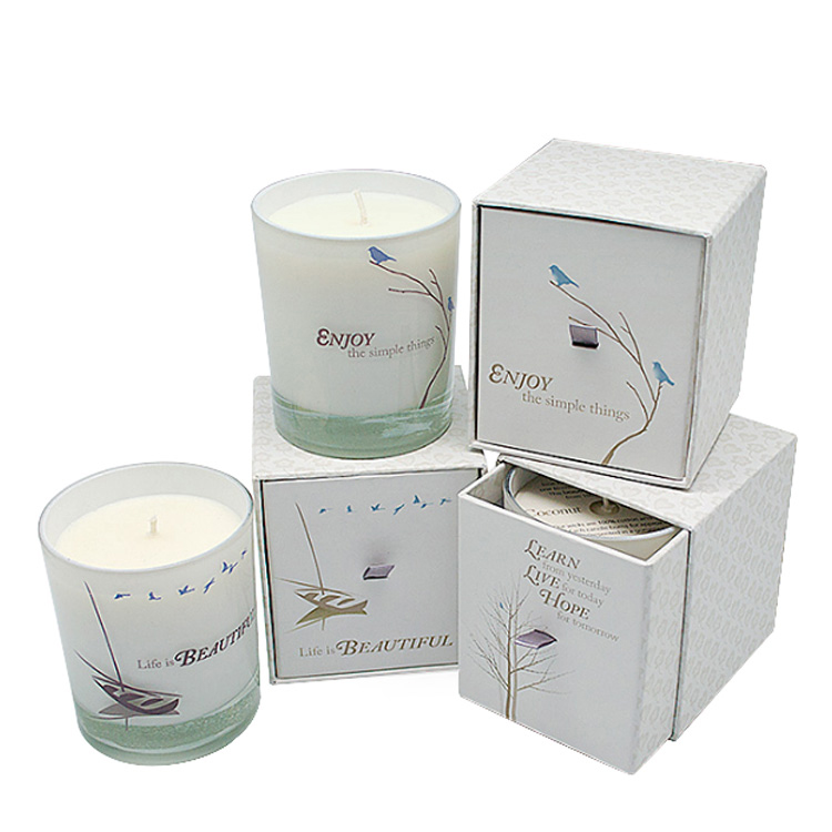 Classical High Quality White Paper Custom Logo Candle Glass Jars Drawer Box