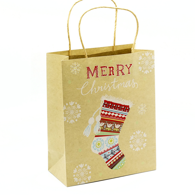Merry Christmas Kraft Paper Shopping Gift Bag