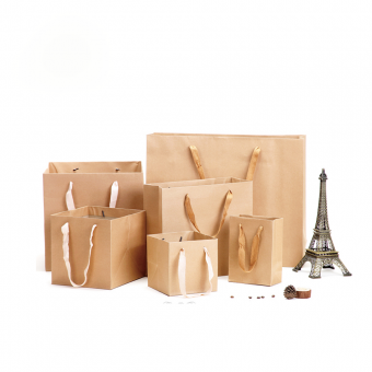 Custom Square Shaped Big Size Thick Brown Kraft Paper Bag
