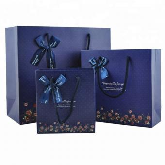 Glossy laminated blue color custom logo printing shopping gift paper bags