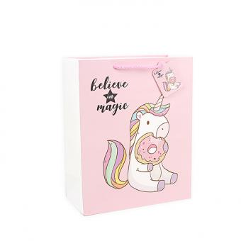 Cartoon unicorn design custom gift paper shopping bag
