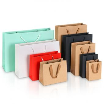 Most Popular Advertising Paper Bag Black Brown Color Kraft paper shopping bag with logo print