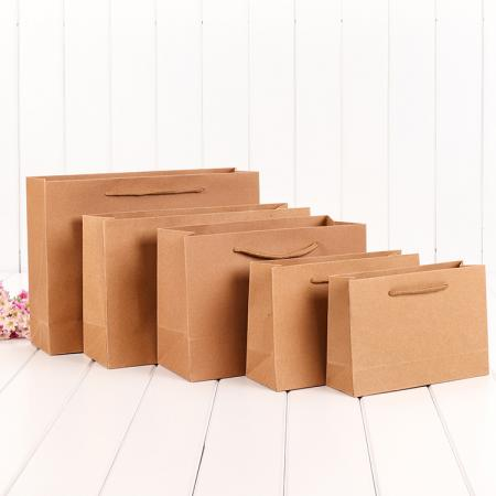China Supplier Logo Printed Colorful Kraft Paper Shopping Bag With Handle
