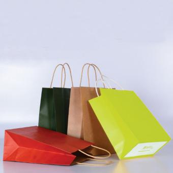 Manufacturer Customized Logo Full Color Kraft Paper Shopping Bags With Handles