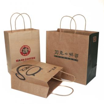 Craft paper shopping bag with handle