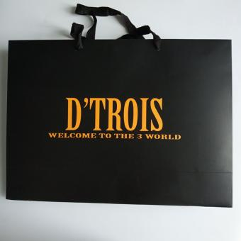 Custom Logo Luxury Black Shopping Gift Coated Paper Bag