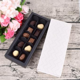 Custom Ivory Black Chocolate Candy Paper Drawer Slide Packaging Gift Box With Paper Dividers