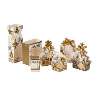 Delicate gilding printing tree shape gift paper box for christmas with ribbon bow