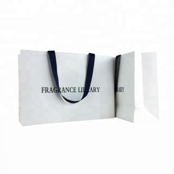 China well made customized ribbon handle stand up white paper bag with logo printing