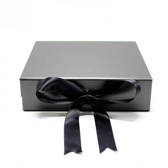Custom Logo Paper Black Ribbon Jewelry Gift Packaging Box