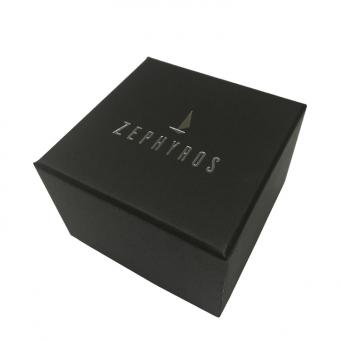 Custom logo hot silver black paper gift watch box with pillow ribbon
