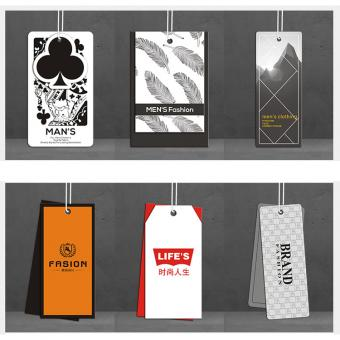 Fancy Paper Hang Tag CMYK Printing for Clothing with Elastic Rope