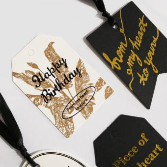 Custom-made Paper Hang Tag with Silver Foil Stamping Logo