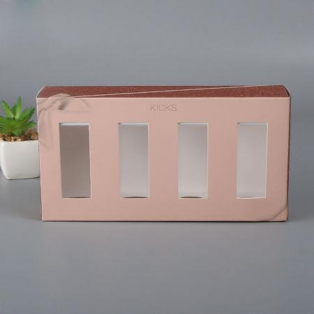 Luxury printing cosmetic set gift paper box with clear pvc window
