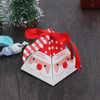 Customized printing foldable christmas paper gift box with ribbon bow