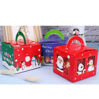 Cute fox printing recycled foldable gift candy Christmas paper box for apple