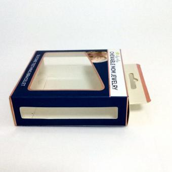 High end logo printing flat bottom cosmetic packaging paper gift box with clear pvc window
