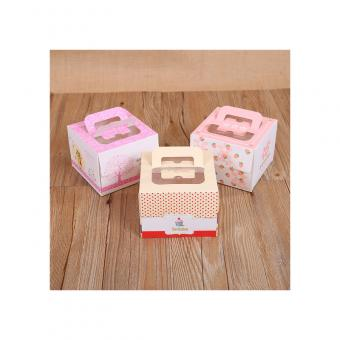 Custom Wholesale Square Art Paper Cardboard Cake Box With Handle