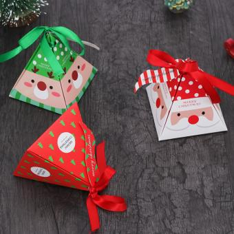 Various shape offset printing christmas paper box gift with ribbon tie