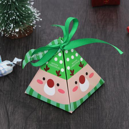 OEM recycled sweet christmas gift paper box with ribbon tie