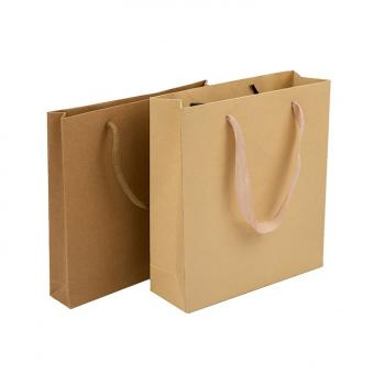 OEM custom high quality shopping recycled kraft brown paper bag with handle