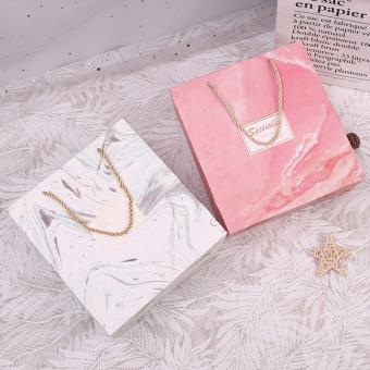 custom printed logo luxury pink gold paper shopping carry gift packaging bag with rope handles for shop
