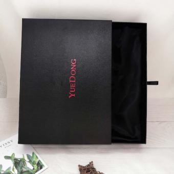 Black Small Custom Logo Luxury Brand Gift Box Packaging With Ribbon