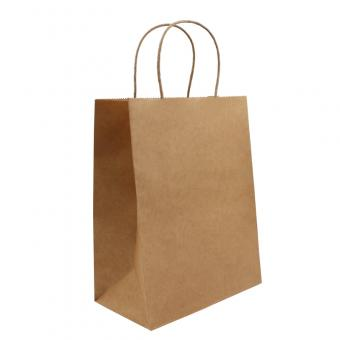 Customization Printed Brown Kraft Shopping Paper Bag With Handles
