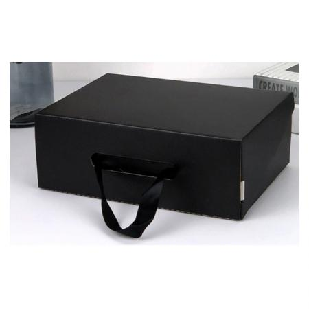 Wholesale Black Shoe Box For Adults And Children Bandbox Packaging With Handle Corrugated Board Box