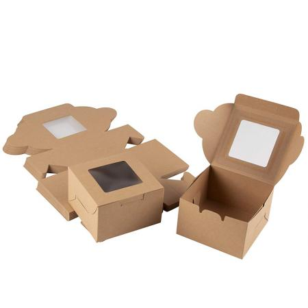Brown Kraft Paper Packaging Designs Display Cake Bakery Gift Boxes With Window 4X4X2.5