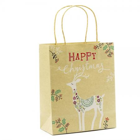 Print Merry Christmas Kraft Paper Shopping Gift Bag wholesale